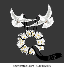 Two white pigeons flying with flower wreath with balck ribbon. Rest in Peace. Vector illustration on grey background