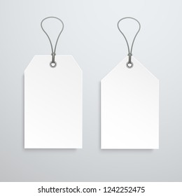 Two white price tag. Vector label template. Eps10