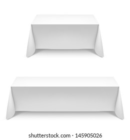 Two white rectangular with table tablecloth. Illustration on white