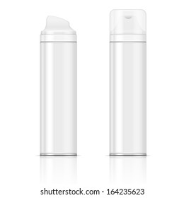 Two white shaving foam or gel bottles. Vector illustration. Packaging collection.