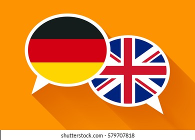 Two white speech bubbles with German and Great britain flags. English language conceptual illustration