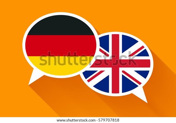 Dos Burbujas De Habla Blanca Con Banderas Alemanas Y De Gran Bretaña Ilustración Conceptual En Inglés