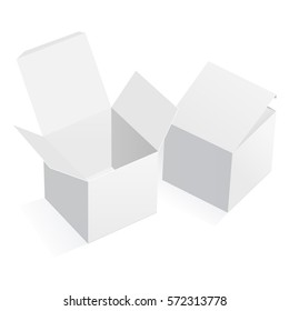 Two white square boxes with covers isolated. Mockup for design. Vector illustration.