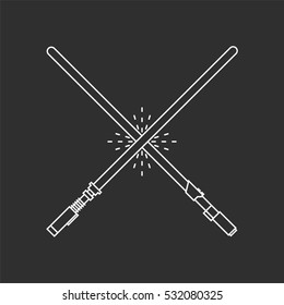 Light Futuristic Sword. Two White Swords On Black Background.