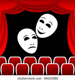 Two white theatrical masks on a black background. Masks represent tragedy and a comedy. Round a composition a red curtain.