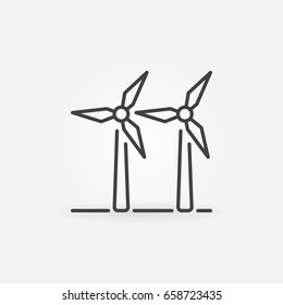 Two wind turbines icon - vector wind farm concept symbol or design element