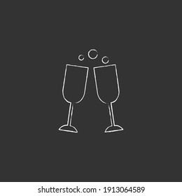 Two wine glasses with bubble vector chalk icon