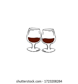 Two wine glasses isolated on a white background. Wine glasses painted by hand. Doodle style, vector illustration.