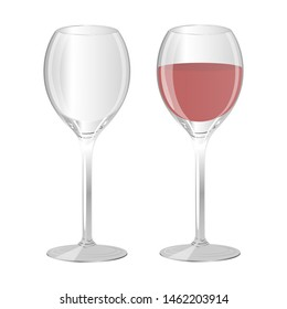 Two wine glasses.A glass of wine and an empty glass. Vector illustration on white background.