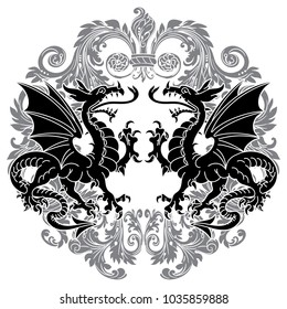 Two winged heraldic dragon and Victorian pattern, isolated on white, vector illustration