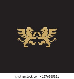 Two Winged Lion. Vector illustration, logo or icon on black background