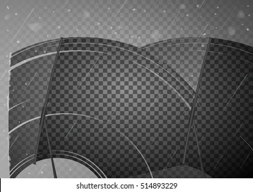 Two wiper cleans the glass. Rain and snow on transparent background. Transparent effect. Vector Illustration.