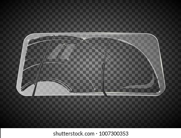 Two wiper cleans the windshield. Rain and snow on transparent background. Transparent effect. Vector Illustration.