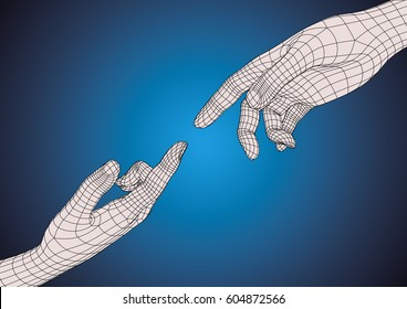 Two wireframe futuristic human hands pointing one each other as imitation of Michelangelo hands of God and Adam in sistine chapel. Technology and creationism metaphoric concept