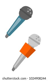 Two wireless microphones vector cartoon illustration isolated on white background.