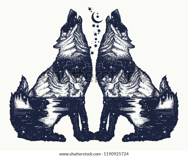 3fe9e8dba Two wolves double exposure tattoo and t-shirt design. Symbol tourism, travel ,