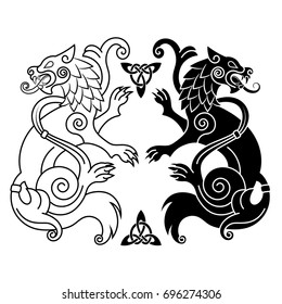 Two wolves of Odin - Geri and Freki, Scandinavian and Celtic style, isolated on white, vector illustration