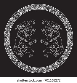 Two wolves of Odin - Geri and Freki, Scandinavian and Celtic style, isolated on black, vector illustration