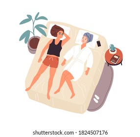 Two woman best friends lying on bed with mask on face and talking vector flat illustration. Happy female relaxing after spa or care procedure top view isolated. People spending time together at home