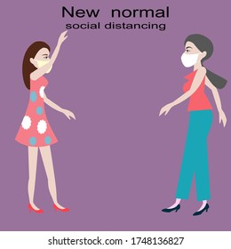 Two woman greeting each other by social distancing for new normal life style.