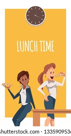 Two Woman Have Pizza for Lunch at Office Banner. Female Office Character Lean on Table. Businesswoman Wear Suit, Stand under Clock, Have Tasty Junk Food. Cartoon Flat Vector Illustration