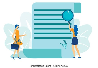 Two Woman Having Deal. Document Signing Flat Cartoon Vector Illustration. Woman Analysing Business Contract. Girl Holding Magnifying Glass and Reading. Agreement Final Inspection. Signature.