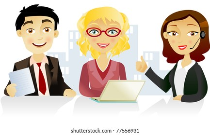 Two woman and one man  at the office