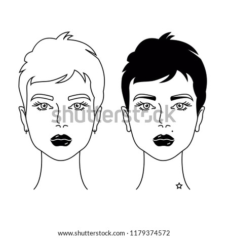 Two Woman Short Hair Cut Different Stock Vector Royalty Free