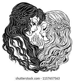 Two women characters with long hair holding hands. Gemini zodiac sigh, best friends, twins or gay couple. Isolated vector illsutration.