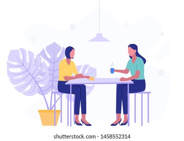 Two women colleagues chatting during coffee breaks at a table in a cafe. Modern flat vector illustration.