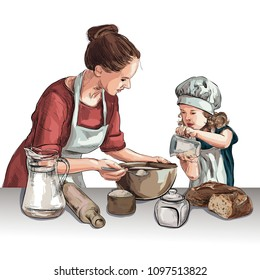 Two women cooking in the kitchen black and white vector sketch, simple drawing. Sketch Women cook in the kitchen
