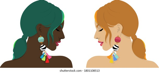 Two women different in their complexion but their beauty lies in their strength. Both are wearing colourful earrings. Portrays the strength and confidence of women regardless of shades and skin tones.