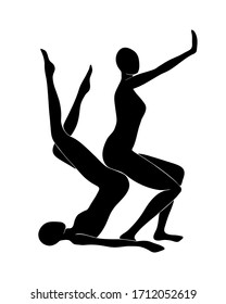 Two women doing yoga. Two black silhouettes of persons.