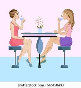 Two women drinking tea or coffee