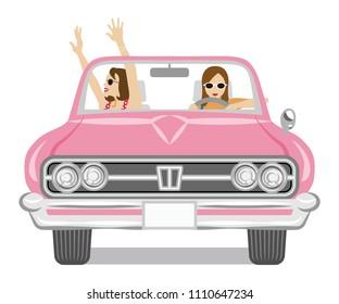 Two women enjoying to drive the convertible