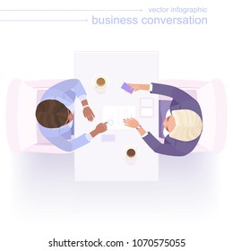 Two women entrepreneurs are talking at the negotiating table. A black businesswoman shows contract with stamp and makes an offer to blonde female partner. Flat vector. Bright purple colors. Top view.