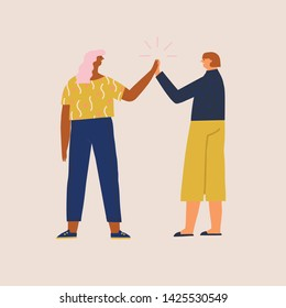 Two women get a success or agreement in business,  give five to each other and celebrate. Connection and solidarity illustration in vector.