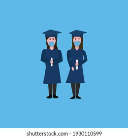 two women graduates with masks and diploma in their hands with light blue background