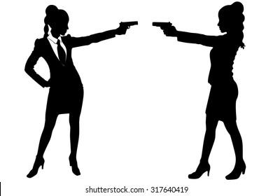 two women with gun