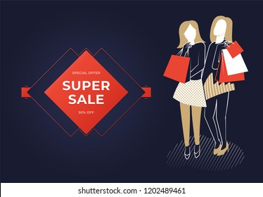 Two women holding bags. Super sale banner.