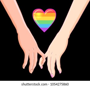 Two women holding hands isolated on white. Lesbian couple. Vector illustration. Valentine's Day card design. LGBT sign for textiles and fabrics, t-shirts, pins and stickers.