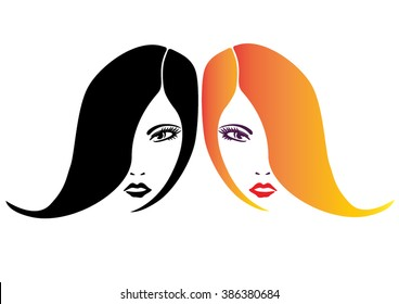 Two women isolated faces vector