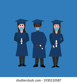 two women and a man of African descent wearing face masks graduates with diplomas in their hands on blue background