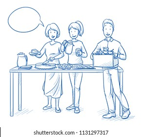 Two women and a man, parents or friends, serving or selling coffee and cake at a charity or school event. Hand drawn blue outline line art cartoon vector illustration.