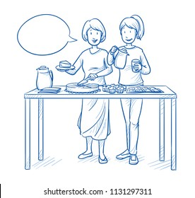 Two women, mothers or friends, serving or selling coffee and cake at a charity or school event. Hand drawn blue outline line art cartoon vector illustration.