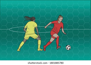 Two women playing soccer over abstract background