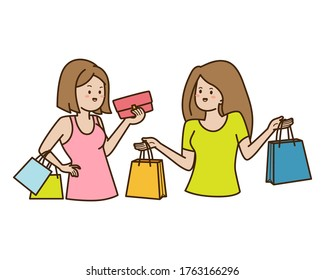 Two women with shopping bags talk each others, doodle cute illustration