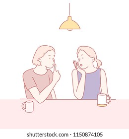 Two women sit in a cafe and share a secret story. hand drawn style vector design illustrations.