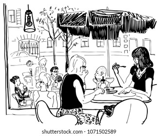 Two women in a summer cafe by the window.  Hand drawn sketchy style funny black and white vector illustration isolated on a white. For postcard design, cafe menu, magazine, tourism, coloring book.