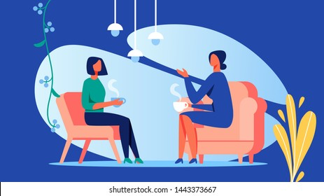 Two Women Talk at Room. Coffee Break. Women Discussion. Training for Women. Vector Illustration. Blue Background. Psychology Consultation Coach and Client. Woman Sitting on Chair in front Each Other.